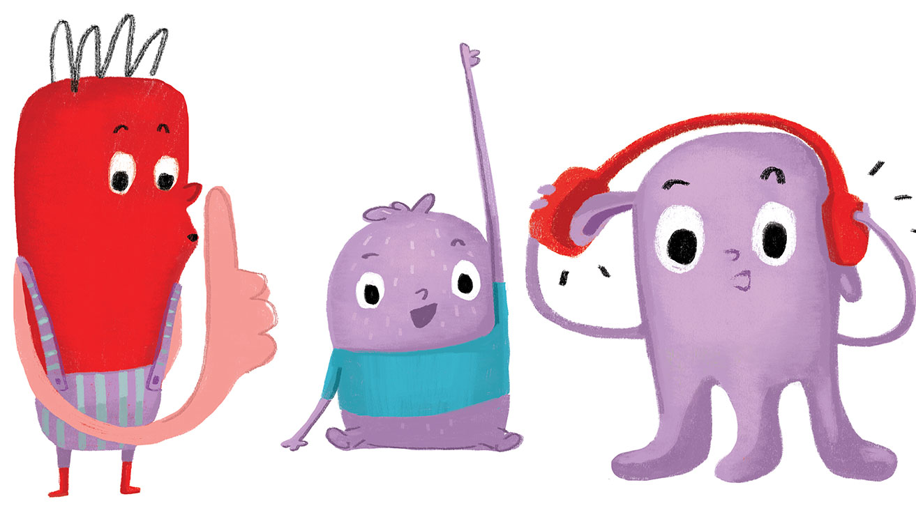 illustration of three characters, raising hand, wearing headphones, saying shhhh