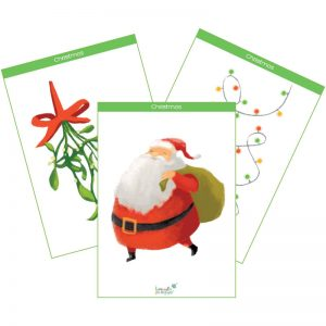 preview of a printable Christmas flashcard product cover, mistletoe, santa claus, fairy lights