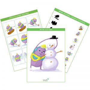 winter activities flashcards, memory game, shadow matching game