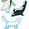 printable flashcards, cut-outs, penguin, killer whale & fox