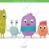 printable flashcards, 4 illustrated characters standing holding hands smiling