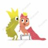 printable flashcards, 2 illustrated characters playing dress-up