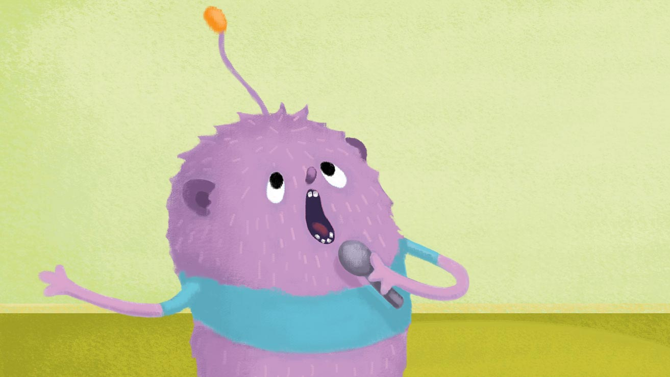 illustration of purple character singing, fidgety fred