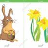 easter printable flashcards, bunny rabbit, daffodils