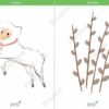 easter printable flashcards, lamb, catkins