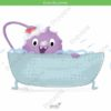 printable flashcards, having a bath