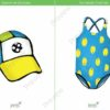 printable flashcards, summer clothes, cap, swimsuit