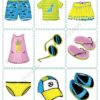 printable flashcards, summer clothes, memory game