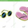 printable flashcards, summer clothes, sunglasses, flip flops