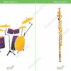 printable flashcards, musical instruments, drums, flute