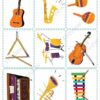 printable flashcards, musical instruments, memory game 1