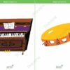 printable flashcards, musical instruments, piano, tambourine