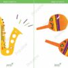 printable flashcards, musical instruments, saxophone, maracas