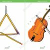 printable flashcards, musical instruments, triangle, violin