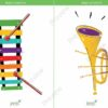 printable flashcards, musical instruments, xylophone, trumpet